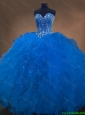 2016 Discount Gorgeous Sweetheart Beaded Blue Quinceanera Dresses with Ruffles