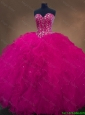 2016 New arrival Gorgeous Luxurious Sweetheart Beaded Quinceanera Dresses in Hot Pink