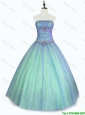 2016 New arrival Perfect Beaded Floor Length Sweet 16 Dresses with Strapless