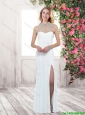 2015 New Style High Neck White Prom Dresses with Brush Train