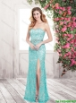 Luxurious Column Laced Prom Dresses with Beading and High Slit For 2015