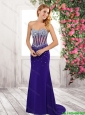 Beautiful Fashionable  Column Beaded Sweetheart Prom Dresses in Purple