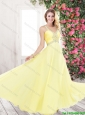 Best Selling Brand New Brush Train Yellow Prom Dresses with Beading for 2016