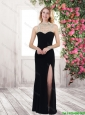 Classical Luxurious Fashionable High Neck Beaded Prom Dresses with High Slit