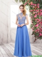Popular Beautiful Fashionable Empire High Neck Prom Dresses with Brush Train