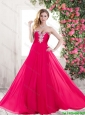Popular Beautiful Fashionable Sweetheart Hot Pink Prom Dresses with Brush Train
