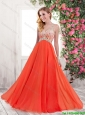 Popular New Style Luxurious Empire One Shoulder Prom Dresses in Orange Red