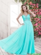 2016 Classical Luxurious Exquisite Beading Brush Train Turquoise Prom Dresses