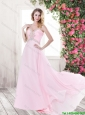 2016 Exquisite Latest Beading Baby Pink Prom Dresses with Brush Train