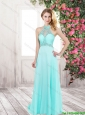2016 Exquisite Latest New Arrival Beading Long Prom Dresses in Turquoise