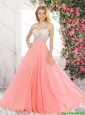 Best Selling Latest One Shoulder Watermelon Prom Dresses with Criss Cross