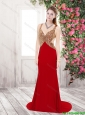 Gorgeous Exclusive Luxurious Column Straps Beaded Prom Dresses in Wine Red