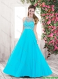 Perfect Pretty Beaded Brush Train Popular 2016 Prom Dresses in Aqua Blue