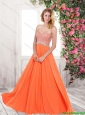Perfect Pretty Beautiful Orange Prom Dresses with Sequins and Beading
