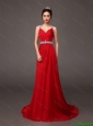2015 Popular Halter Top Beaded Red Prom Dresses with Brush Train