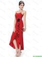 2016 Perfect High Slit Spaghetti Straps Prom Dresses Hand Made Flowers