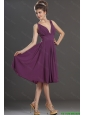 2015 Perfect V Neck Short Prom Dresses in Eggplant Purple