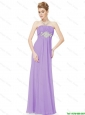 2016 Empire Strapless Beaded Prom Dresses in Lavender