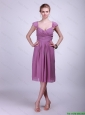 2016 Fashionable Short Purple Prom Dresses with Ruching