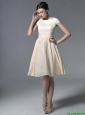 2016 Inexpensive Short Champagne Prom Dresses with Ruching