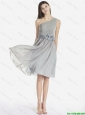 Fashionable One Shoulder Grey Prom Dresses with Bowknot 2015