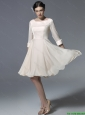 New Arrivals Bateau Zipper Up Prom Dresses in Champagne