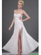 2015 Perfect Sweetheart Ruched White Prom Dresses with High Slit