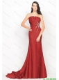 Beautiful Column Strapless Rust Red Prom Dresses with Brush Train 2016