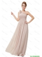 Beautiful Ruched Champagne Prom Dresses with One Shoulder