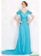 Classical V Neck Brush Train Ruched Prom Dresses in Aqua Blue