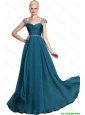 Gorgeous Beaded Teal Cap Sleeves Prom Dresses with Straps