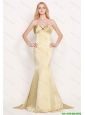Latest Mermaid Sweetheart Gold Prom Dresses with Brush Train 2016