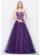 Popular A Line Sweetheart Lace Up Prom Gowns in Purple