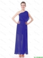 Pretty One Shoulder Blue Prom Dresses with High Slit 2016
