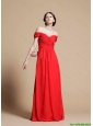 2016 Empire Off the Shoulder Red Prom Dresses with Ruching