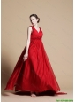 2016 Empire V Neck Brush Train Prom Dresses with Hand Made Flowers