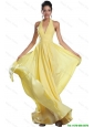 Fashionable Empire Ruched Yellow Prom Dresses with Halter Top 2016