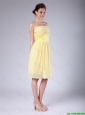 Hot Sale Yellow Strapless Prom Dresses with Knee Length