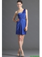 2016 Custom Made One Shoulder Short Beading Prom Dresses in Royal Blue