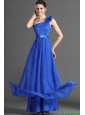 2016 Luxurious Beading and Hand Made Flowers Prom Dresses in Blues