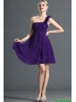 2016 Modest One Shoulder Purple Short Prom Dress with Hand Made Flowers