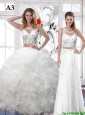Detachable New Style White Scoop Wedding Dresses with Sequins and Ruffles