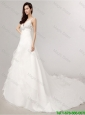 Romantic A Line Spaghetti Straps Court Train Wedding Dress with Beading
