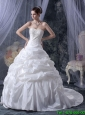 Romantic Ball Gown Strapless Wedding Dresses with Appliques