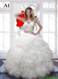 Luxurious White Scoop Wedding Dresses with Sequins and Ruffles