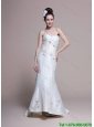 Mermaid Strapless Brush Train Romantic Wedding Dresses with Appliques
