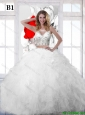 Top Seller White Scoop A Line Wedding Dresses with Sequins and Ruffles