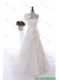 Exclusive Beading and Hand Made Flowers White Wedding Dresses with Court Train