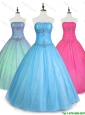 2016 Pretty Strapless Ball Gown Discount Sweet 16 Dresses with Beading