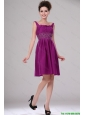 Discount Short Straps Beaded Prom Dresses in Fuchsia